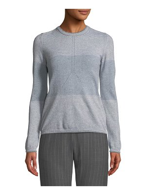 Piazza Sempione Crewneck Long-Sleeve Striped Wool-Cashmere Sweater