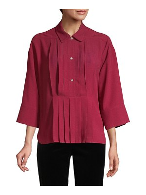 Piazza Sempione Crystal Button Pleat Front Blouse