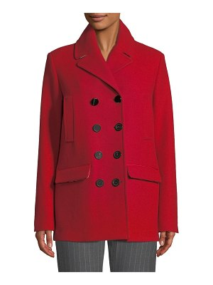 Piazza Sempione Double-Breasted Wool Melton Pea Coat