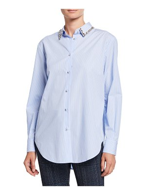 Piazza Sempione Jeweled Collar Striped Button-Front Tunic