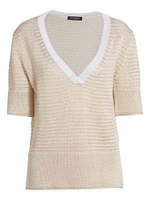 Piazza Sempione linen-blend v-neck knit short-sleeve sweater