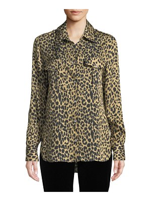Piazza Sempione Long-Sleeve Button-Front Leopard Animal-Print Silk Shirt