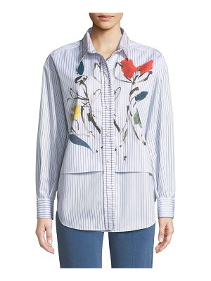Piazza Sempione Long-Sleeve Striped Cotton Shirt with Watercolor-Floral Print