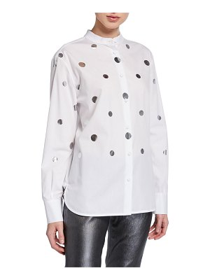 Piazza Sempione Metallic Coin-Dotted Button-Front Tunic