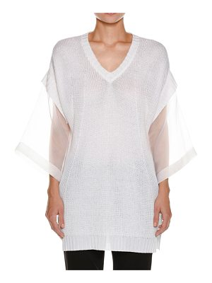Piazza Sempione Organza-Sleeve Linen-Blend Knit Tunic