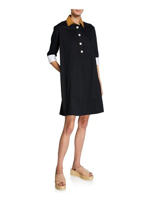 Piazza Sempione Short-Sleeve Colorblocked Shirtdress