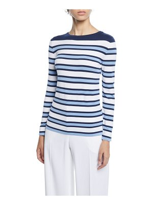 Piazza Sempione Striped-Knit Long-Sleeve Top