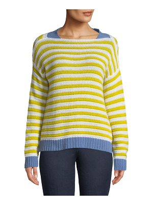 Piazza Sempione Striped Open-Weave Cashmere Pullover