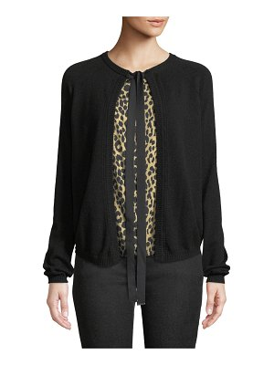 Piazza Sempione Tie-Front Wool-Cashmere Cardigan w/ Animal-Print Faux Top