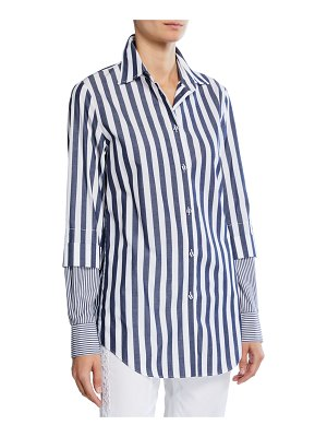 Piazza Sempione Two-Tone Striped Long-Sleeve Tunic