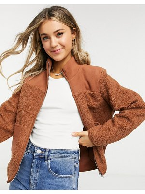 Pieces borg fleece jacket with zip through and pockets in tan