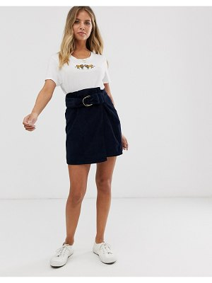 Pieces buckle detail cord mini skirt in navy