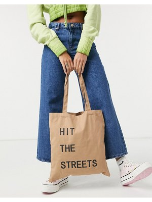 Pieces canvas tote bag with slogan in beige