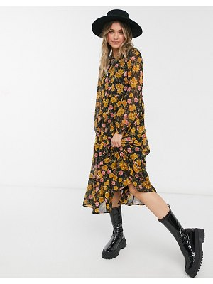 Pieces chiffon midi smock dress in black and mustard floral-multi