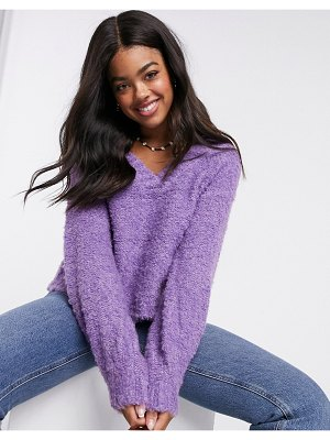 Pieces fluffy sweater with v neck in purple
