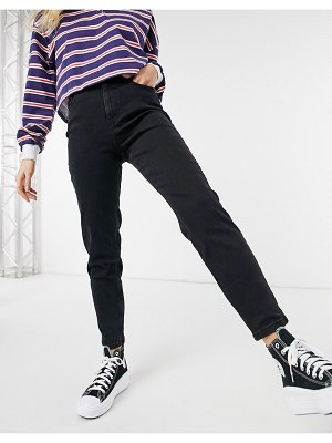 Pieces high waisted mom jeans in black