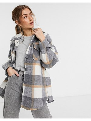 Pieces longline shacket in gray plaid-multi