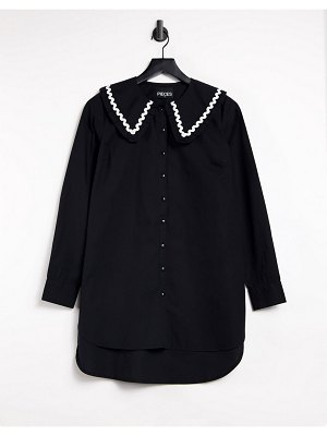 Pieces longline shirt with exaggerated collar in black