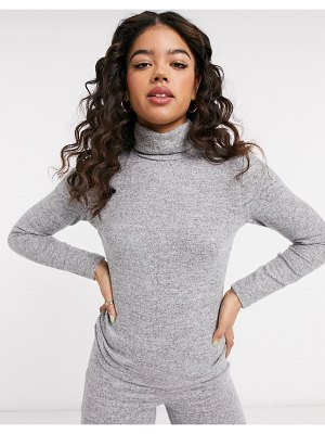 Pieces matching sweater with high neck in gray-grey