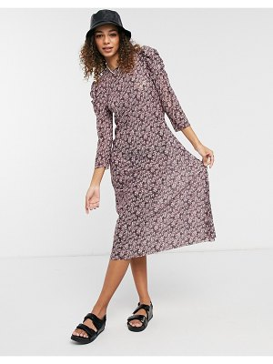 Pieces midi dress with ruffle sleeve in purple floral-multi
