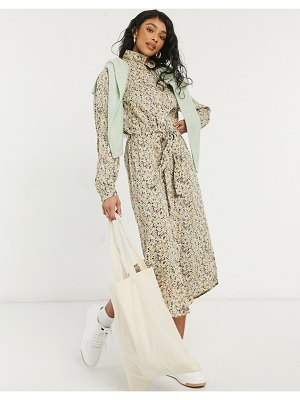 Pieces midi shirt dress with belted waist in green ditsy floral-multi