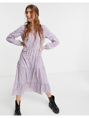 Pieces midi smock dress in lilac flirty floral-multi