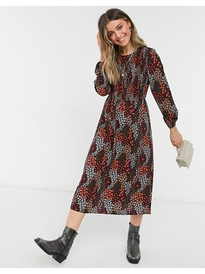 Pieces midi smock dress with puff sleeves in dark red ditsy floral-multi