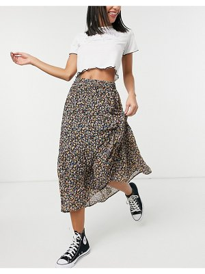 Pieces midi wrap skirt in micro floral-multi