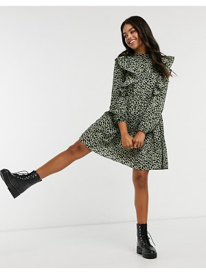 Pieces mini skater dress with ruffle detail in leopard print-multi