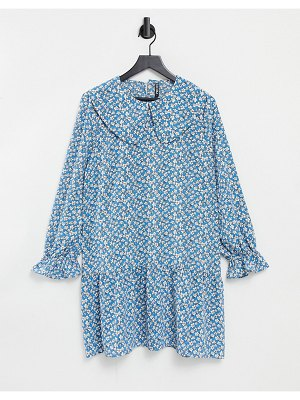 Pieces mini smock dress with exaggerated collar in blue ditsy floral-multi