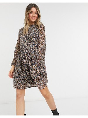 Pieces mini smock dress with volume sheer sleeve in ditsy floral-multi