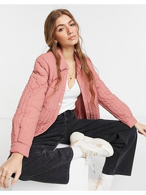 Pieces quilted jacket in rose-pink