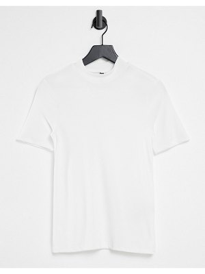 Pieces ribbed t-shirt with high neck in white