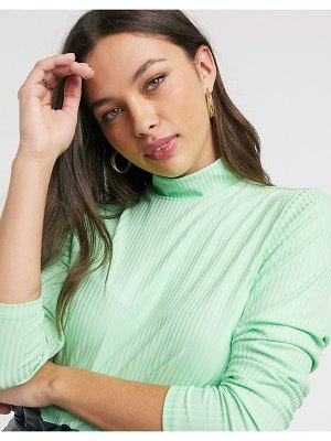 Pieces ribbed top with high neck in mint green