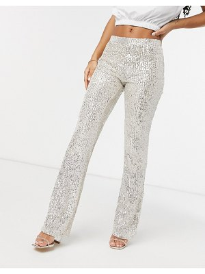 Pieces sequin flare pants co ord in silver