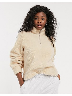 Pieces sherpa sweater with half zip in cream-white