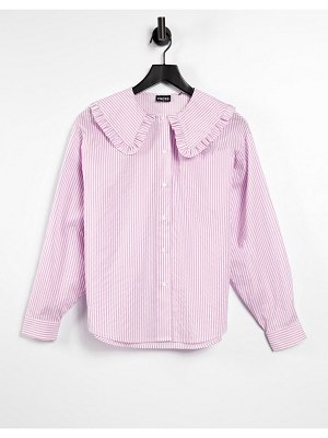 Pieces shirt with exaggerated ruffle collar in lilac stripe-purple