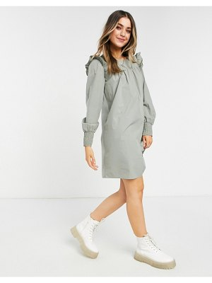 Pieces smock dress with shirred cuff in light green