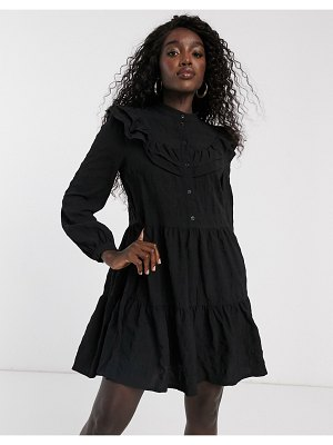 Pieces smock dress with tiered skirt in black