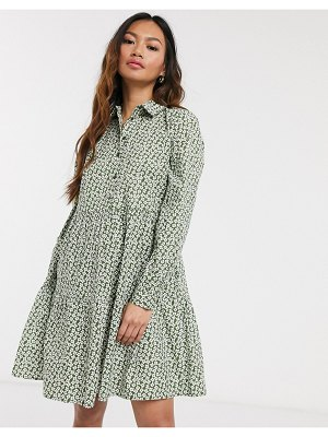 Pieces smock shirt mini dress in ditsy floral print-multi