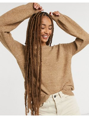 Pieces sweater with balloon sleeves in camel-brown