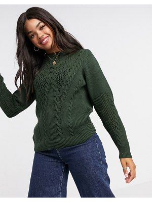Pieces sweater with cable detail in dark green-black
