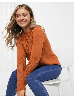 Pieces sweater with cable detail in rust-brown