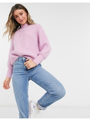 Pieces sweater with high neck and puff sleeve in pastel pink