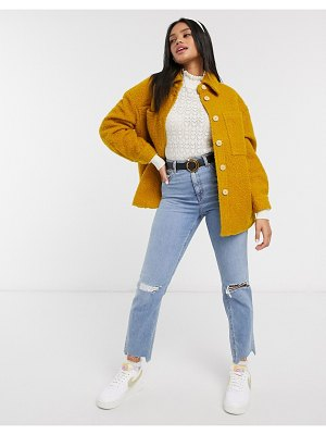 Pieces teddy shacket with pockets in mustard-yellow