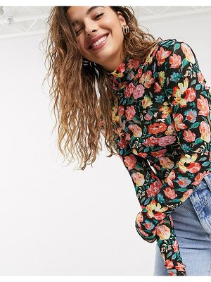 Pieces top with high neck in black floral
