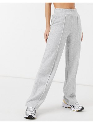 Pieces wide leg sweatpants with front seam in light gray