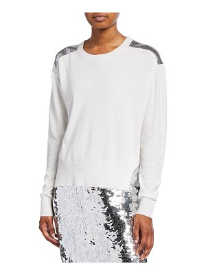 PINKO Crewneck Sweater with Chainmail Shoulders