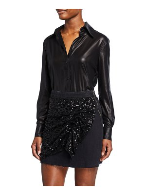 PINKO Long-Sleeve Glossy Georgette Button-Down Top