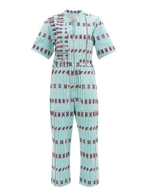 PIPPA HOLT embroidered striped cotton jumpsuit